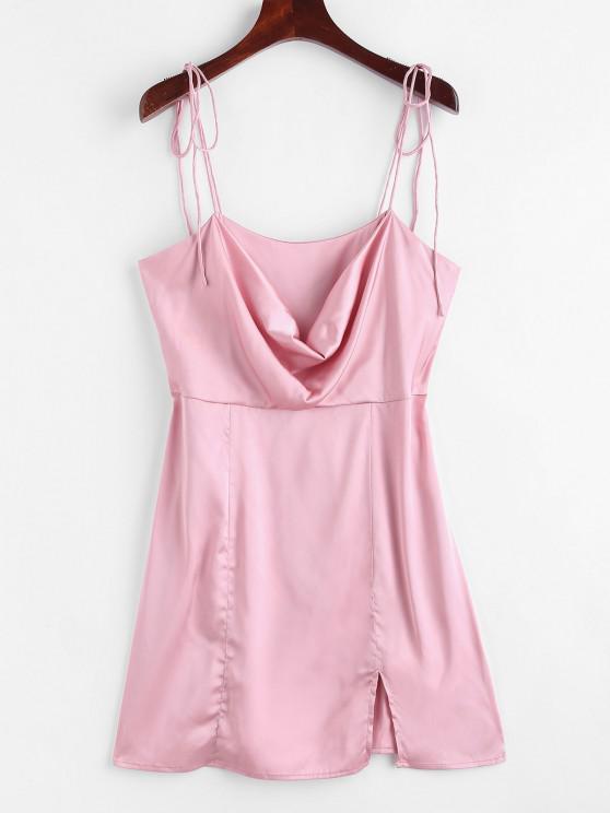 trendy Satin Tie Shoulder Cowl Front Slit Dress - LIGHT PINK L