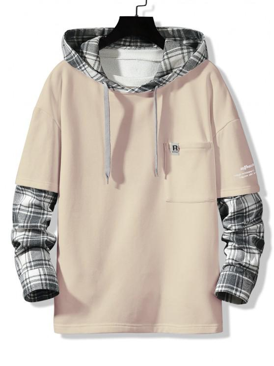 online Letter Print Plaid Faux Twinset Hoodie - CHAMPAGNE XS