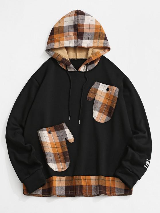 Plaid Print Glove Pockets Faux Twinset Fleece Hoodie - أسود 2XL
