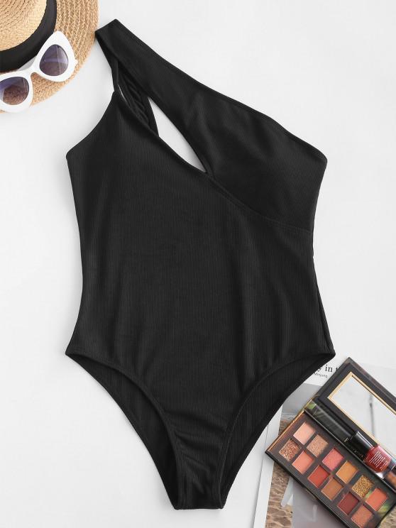 ZAFUL Einziger Schulter Ausschnitt Gerippter Einteiliger Badebekleidung - Schwarz XL