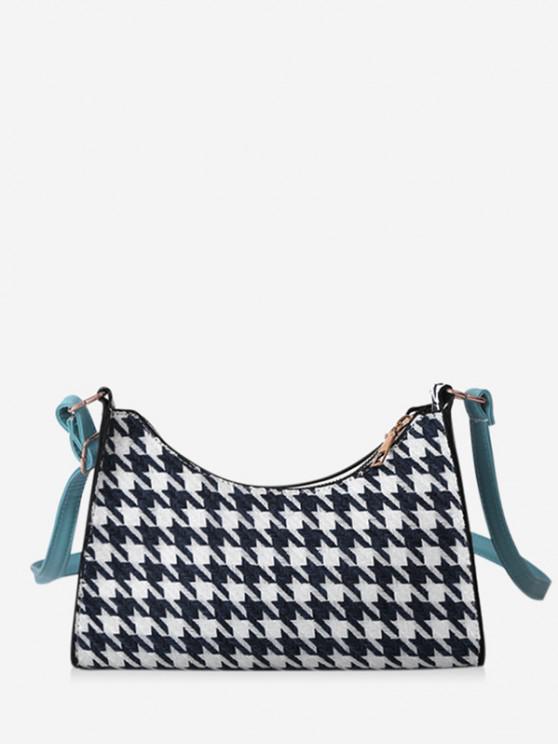 Houndstooth Colorblock Shoulder Bag - ازرق غامق