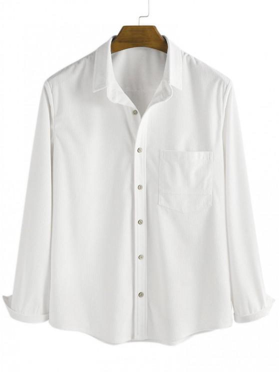 affordable Button Up Corduroy Pocket Shirt - WHITE L