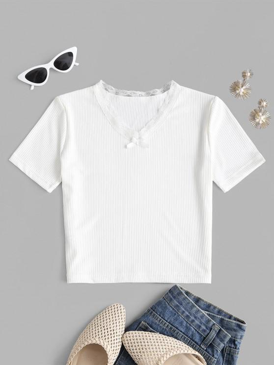 Bowknot Lace Trim Ribbed Tee - أبيض S
