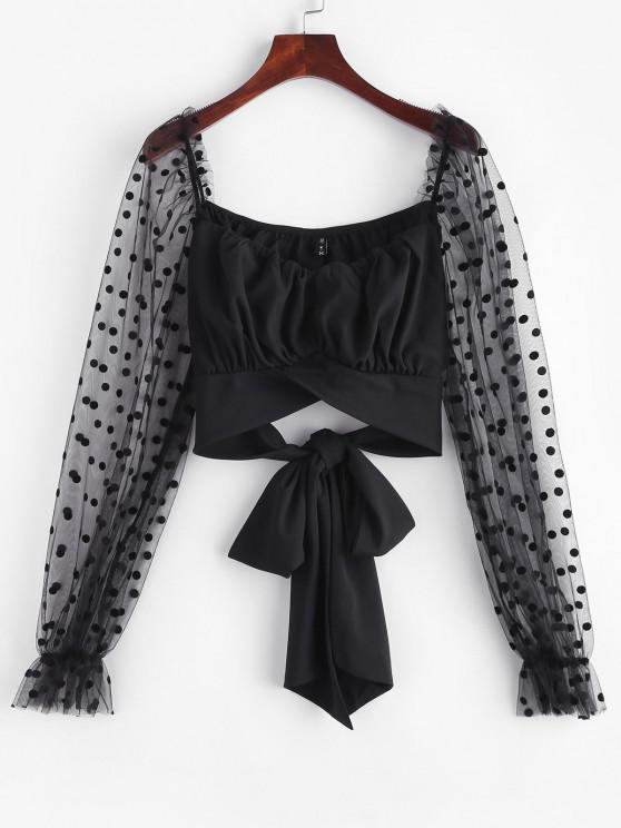 chic Flocking Polka Dot Mesh Ruffle Tie Back Blouse - BLACK L