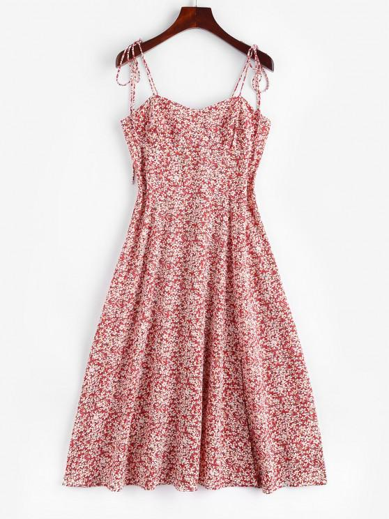 Ditsy Print Tie Shoulder Smocked Slit Midi Dress - وردي فاتح S