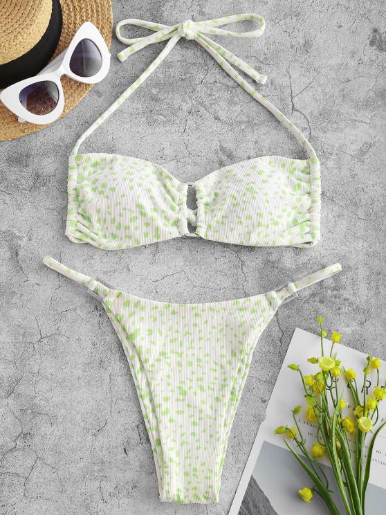 ZAFUL Ribbed Leopard Square Ring String Bikini Swimwear - أبيض S
