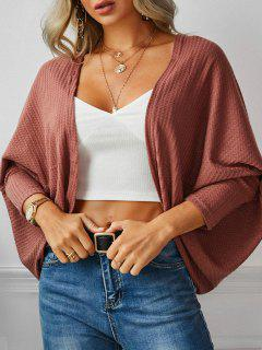 Open Front Textured Dolman Sleeve Cardigan - Deep Red L