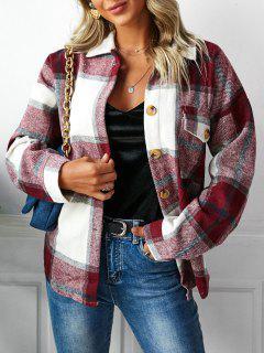 격자 무늬 드롭 숄더 포켓 코트 - 딥 레드 에스