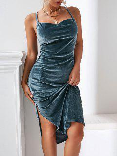 Criss Cross Velvet Backless Slit Midi Dress - Albastru Inchis S