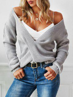 ZAFUL Twisted Plunging Drop Shoulder Sweater - Gray L