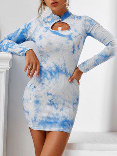 ZAFUL Keyhole Tie Dye Ribbed Bodycon Dress - Baby Blue S