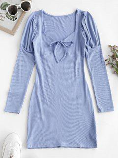 Ribbed Puff Sleeve Tie Collar Bodycon Dress - Sky Blue S