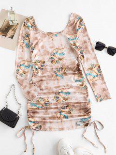 ZAFUL Tie Dye Renaissance Angel Print Ruched Bodycon Dress - Light Coffee Xl