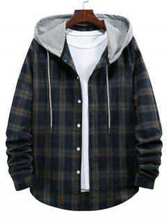 Plaid Print Hooded Drawstring Shirt - Cadetblue M