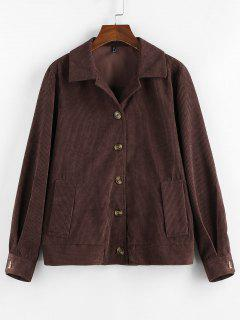 ZAFUL Ribbed Buttons Corduroy Jacket - Deep Coffee L