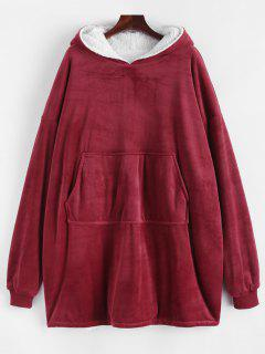 Lounge Drop Shoulder Kangaroo Pocket Blanket Hoodie - Red