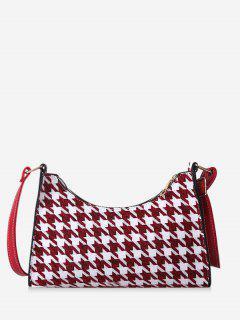 Houndstooth Colorblock Shoulder Bag - Deep Red