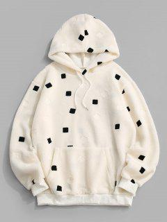 Front Pocket Contrast Square Teddy Hoodie - White Xl