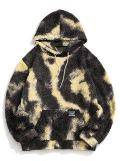 Tie Dye Patched Teddy Hoodie - Gray L