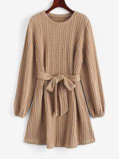 Long Sleeve Cable Knit Belted Sweater Dress - Light Coffee L