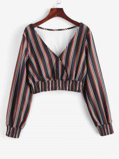 ZAFUL Gemischter Streifen Kittel Panel Zugeschnitte Bluse - Schwarz M