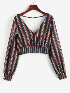 ZAFUL Mixed Stripes Smocked Panel Cropped Blouse - Black M