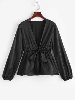 ZAFUL Tie Front Silky Peplum Hem Blouse - Black L