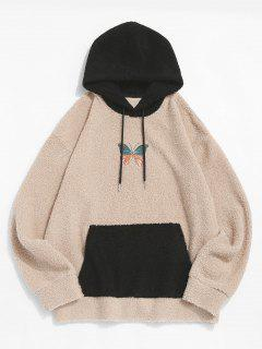 Colorblock Butterfly Embroidery Teddy Hoodie - Light Coffee Xl