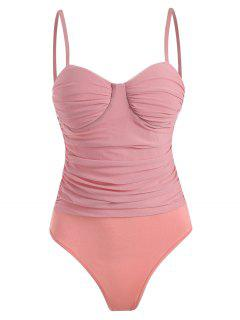 Mesh Ruched Padded Cami Bodysuit - Light Pink L