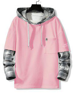 Letter Print Plaid Faux Twinset Hoodie - Pink Xs
