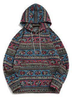 Tribal Geometric Pattern Fleece Hoodie - Multi 3xl