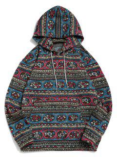 Tribal Geometric Pattern Fleece Hoodie - Multi L