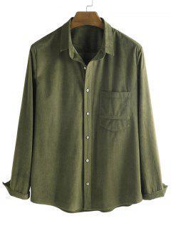 Button Up Corduroy Pocket Shirt - Deep Green L