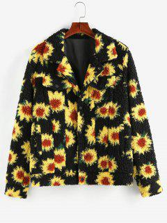 ZAFUL Flower Pattern Button Up Teddy Jacket - Black 2xl