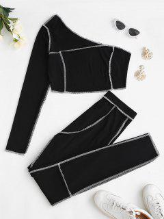 ZAFUL Conjunto De Pantalones De Un Hombro Acanalado - Negro S