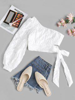 Leaf Pattern One Shoulder Tied Crop Blouse - White L