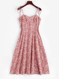 Ditsy Print Tie Shoulder Smocked Slit Midi Dress - Light Pink S