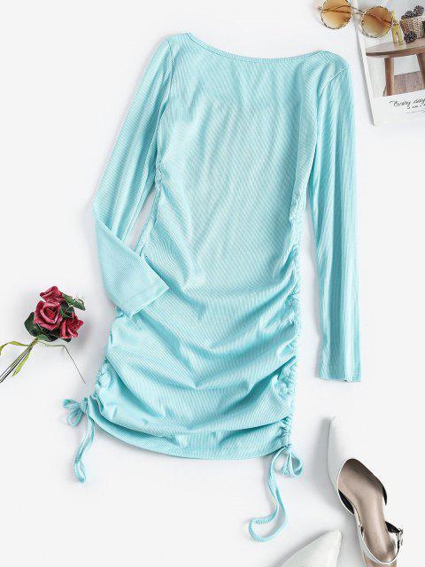 Geschnürtes Bodycon Kleid mit Rüschen - Blau M Mobile