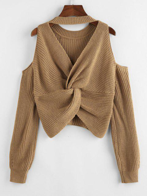chic ZAFUL Choker Twisted Cold Shoulder Jumper Sweater - LIGHT COFFEE M Mobile