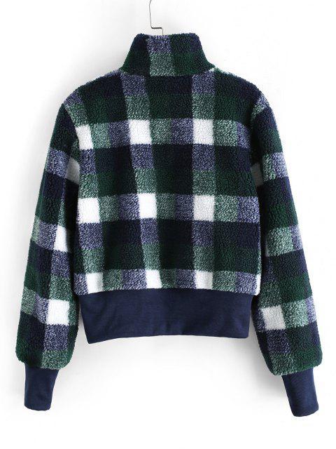 ladies Zip Up Pockets Plaid Teddy Jacket - DEEP GREEN M Mobile