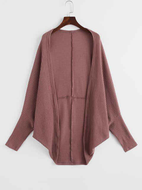 lady Open Front Textured Dolman Sleeve Cardigan - DEEP RED L Mobile