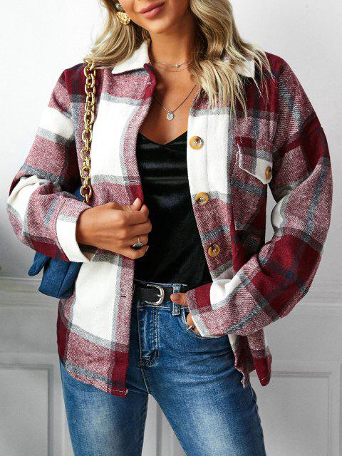 outfit Plaid Drop Shoulder Pocket Coat - DEEP RED S Mobile