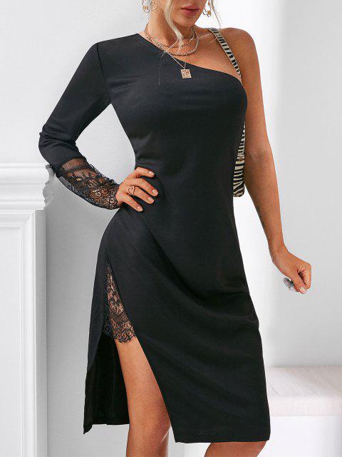 online Lace Insert Side Slit One Shoulder Dress - BLACK S Mobile