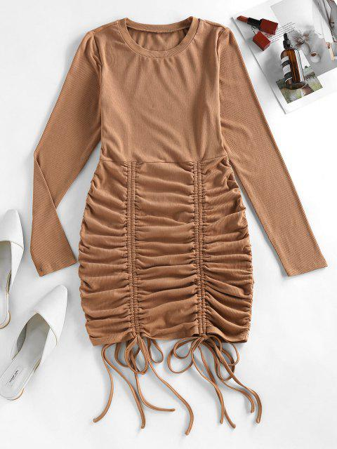 outfits ZAFUL Cinched Ribbed Bodycon Dress - DEEP COFFEE L Mobile