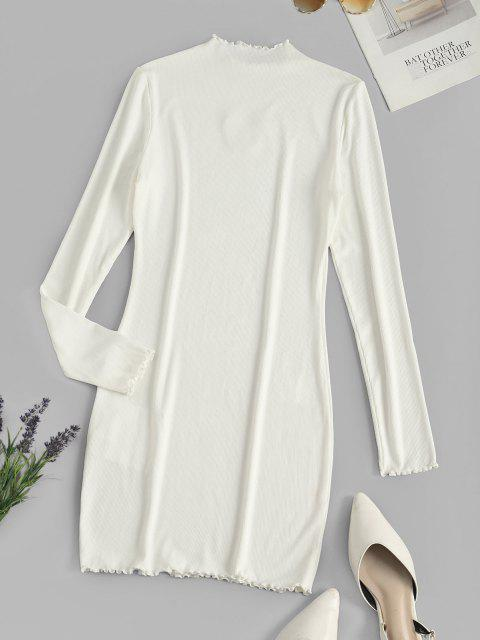 outfit ZAFUL Ribbed Butterfly Applique Lettuce Trim Dress - WHITE S Mobile