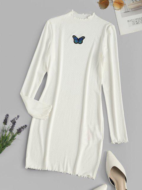 ZAFUL Ribbed Butterfly Applique Lettuce Trim Dress - أبيض S Mobile