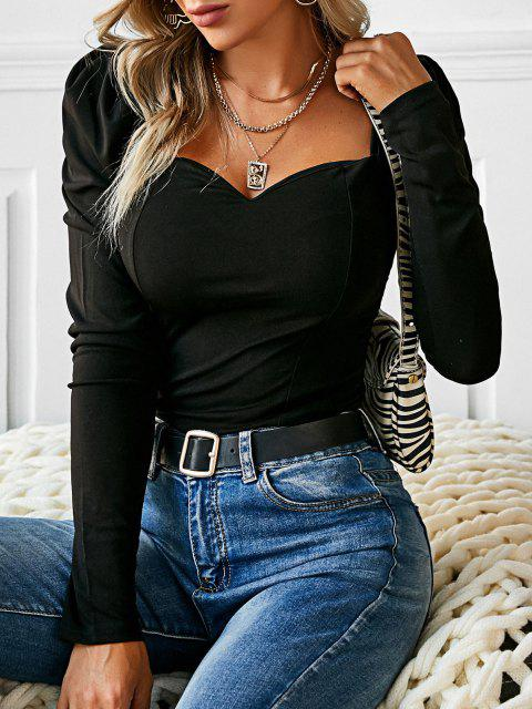 affordable Sweetheart Puff Sleeve Plain Blouse - BLACK S Mobile
