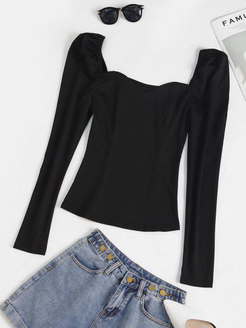 unique Sweetheart Puff Sleeve Plain Blouse - BLACK L Mobile