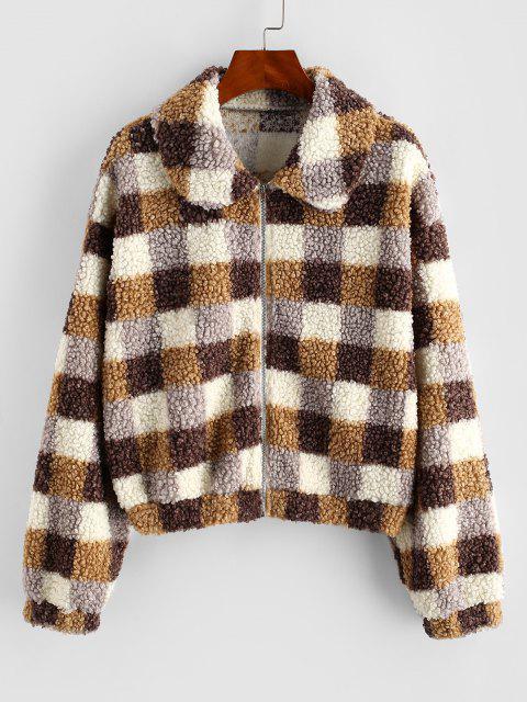 sale ZAFUL Plaid Zip Front Teddy Coat - MULTI-A S Mobile
