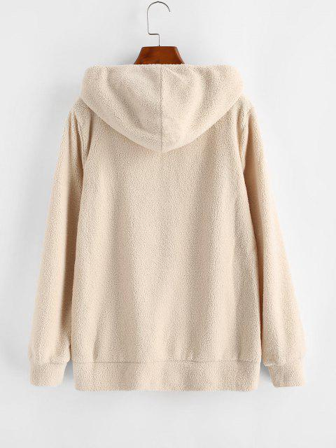 lady Hooded Zip Up Faux Shearling Pockets Coat - LIGHT KHAKI M Mobile